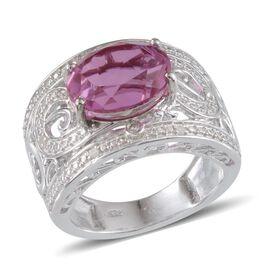 Kunzite Colour Quartz (Ovl 5.75 Ct), Diamond Ring in Platinum Overlay Sterling Silver 5.800 Ct.