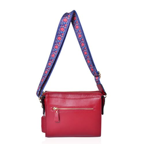 100% Genuine Leather Red Colour Crossbody Bag with Tassel Charm and Colourful Adjustable and Removable Shoulder Strap (Size 21.5X18.5X8.5 Cm)