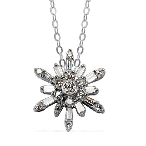 Close Out Deal 14K W Gold Diamond (I2-GH) Starburst Pendant with Chain 0.200 Ct., Gold wt 2.10 Gms.