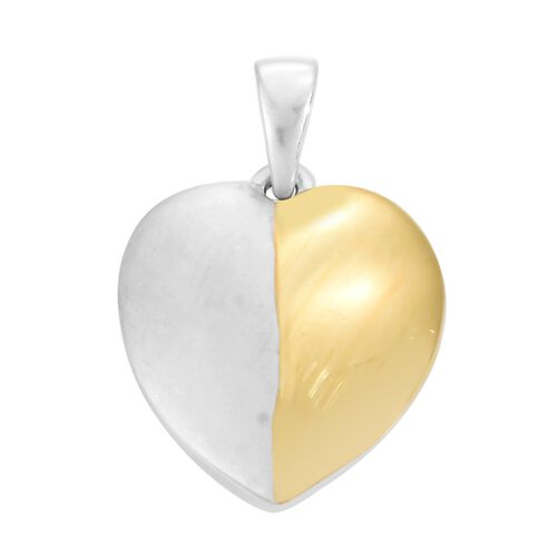 Designer Inspired- Platinum and Yellow Gold Overlay Sterling Silver Heart Pendant and Stud Earrings (with Push Back), Silver wt 5.35 Gms.