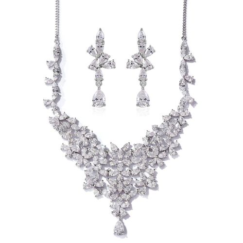 J Francis - Platinum Overlay Sterling Silver (Pear) Necklace (Size 18) and Earrings (with Push Back) Made with SWAROVSKI ZIRCONIA