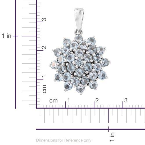 Espirito Santo Aquamarine 3.25 ct. Silver Cluster Pendant in Platinum Overlay