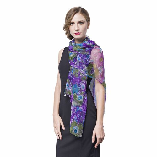 40% Silk Purple, Green and Multi Colour Floral and Leaves Pattern Scarf (Size 170X105 Cm)