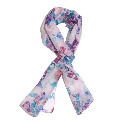 SILK MARK- 100% Mulberry Silk Purple, Green and Multi Colour Floral and Leaves Pattern Blush Pink Colour Scarf (Size 170x50 Cm)