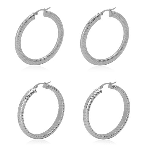 Set of 2 - Hoop Earrings in Stainless Steel