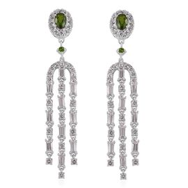 GP Russian Diopside (Ovl 6x4mm), White Topaz and Madagascar Blue Sapphire Earrings in Rhodium Plated Sterling Silver 6.090 Ct. Silver wt 10.15 Gms.