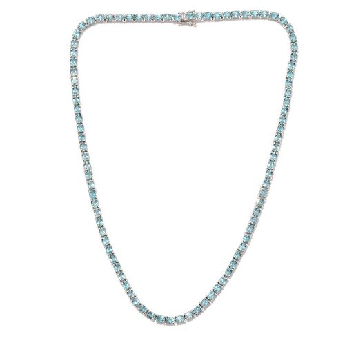 AA Paraibe Apatite (Ovl) Necklace (Size 20) in Platinum Overlay Sterling Silver 33.500 Ct.