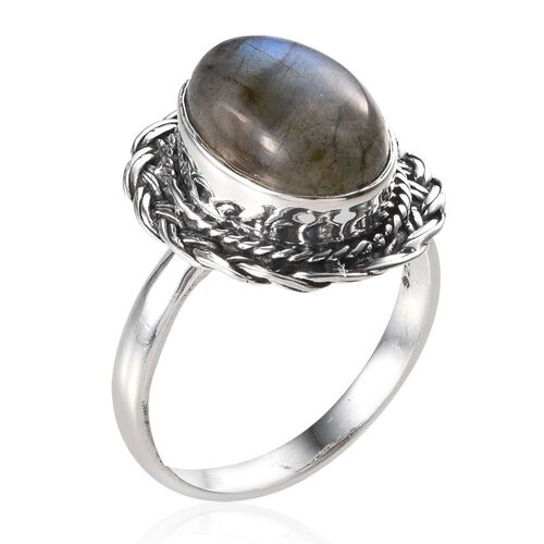 Jewels of India Labradorite (Ovl) Solitaire Ring in Sterling Silver 6.480 Ct.