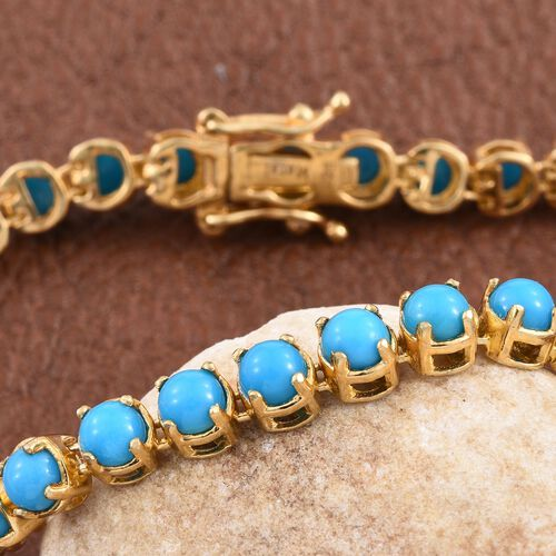 Arizona Sleeping Beauty Turquoise (Rnd) Bracelet (Size 7.5) in 14K Gold Overlay Sterling Silver 9.500 Ct.