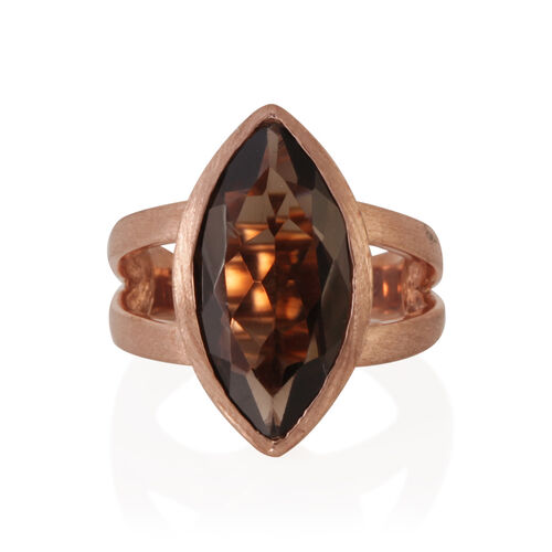 Brazilian Smoky Quartz (Mrq) Solitaire Ring in 14K Rose Gold Overlay Sterling Silver 6.500 Ct.
