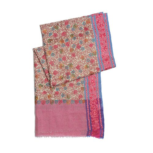 100% Merino Wool Multi Colour Flowers Hand Embroidered Pink Colour Shawl (Size  200x70 Cm)