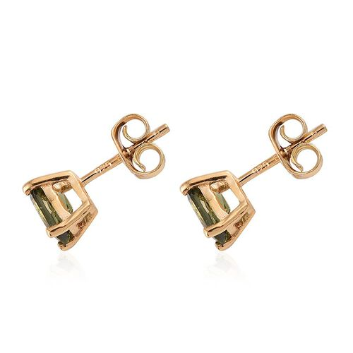 Bohemian Moldavite (Cush) Stud Earrings (with Push Back) in 14K Gold Overlay Sterling Silver 0.750 Ct.