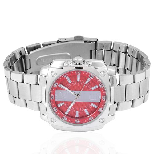 STRADA Japanese Movement Red Dial Water Resistant Watch in Silver Tone with Stainless Steel Back