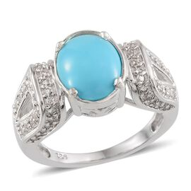 Arizona Sleeping Beauty Turquoise (Ovl 2.90 Ct), White Topaz Ring in Platinum Overlay Sterling Silver 4.650 Ct.