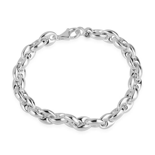 Vicenza Collection- Designer Inspired- Rhodium Plated Sterling Silver Marine Chain Bracelet (Size 7.5), Silver wt 11.76 Gms.