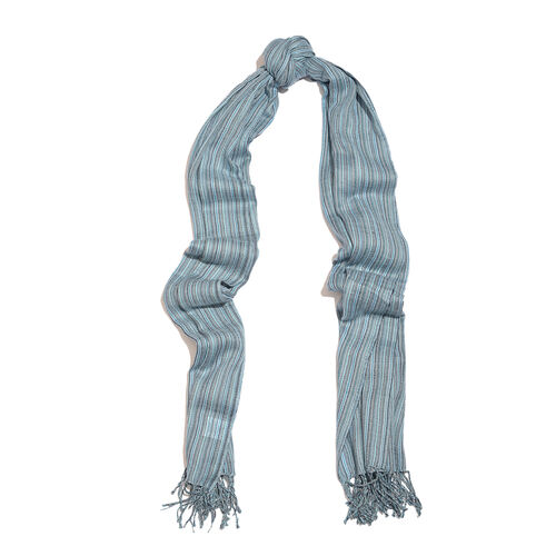 100% Merino Wool Blue and Multi Colour Stripes Pattern Scarf with Tassels (Size 210X95 Cm)