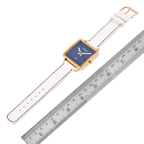 Designer Inspired- STRADA Japanese Movement Blue Dial Watch in Gold Tone with Stainless Steel Back and White Colour Strap