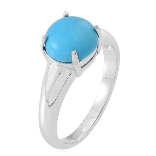 Arizona Sleeping Beauty Turquoise (Rnd) Solitaire Ring in Sterling Silver 2.000 Ct.