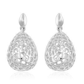 RACHEL GALLEY Rhodium Plated Sterling Silver Lattice Drop Earrings (with Push Back), Silver wt. 4.93 Gms.