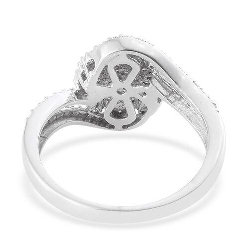 Designer Inspired- Diamond (Rnd) Flower Ring in Platinum Overlay Sterling Silver 0.500 Ct.