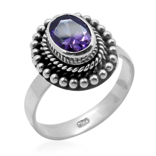 Royal Bali Collection AAA Simulated Amethyst (Ovl) Solitaire Ring in Sterling Silver 1.550 Ct.
