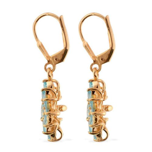 Paraibe Apatite (Mrq) Floral Lever Back Earrings in 14K Gold Overlay Sterling Silver 2.500 Ct.