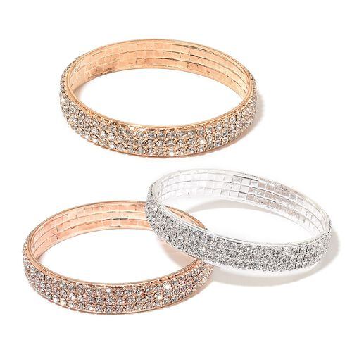 Set of 3 - White Austrian Crystal Bangle (Size 7) in Yellow Gold, Rose Gold and Silver Tone
