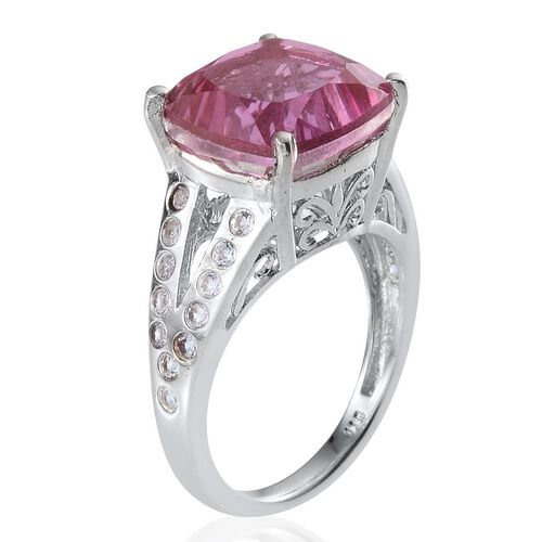 Kunzite Colour Quartz (Cush 8.75 Ct), White Topaz Ring in Platinum Overlay Sterling Silver 9.250 Ct.