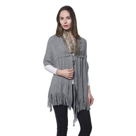Grey Colour Faux Fur Scarf with Collar and Tassels (Size 165x50 Cm)