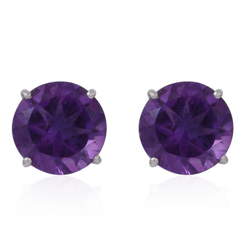 Lusaka Amethyst (Rnd) Stud Earrings (with Push Back) in Rhodium Plated Sterling Silver 5.000 Ct.