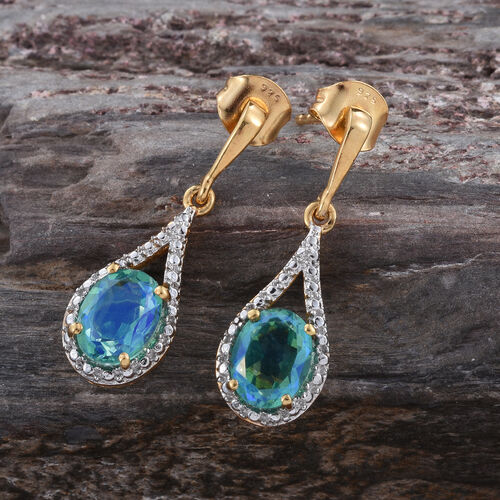 Peacock Quartz (Ovl) Earrings (with Push Back) in 14K Gold Overlay Sterling Silver 3.000 Ct.