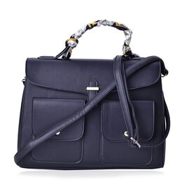 Black Colour Large Tote Bag with External Pocket and Removable Shoulder Strap with Multi Colour Scarf (Size 35x28x16 Cm, 87x4 Cm)