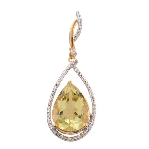 Natural Green Gold Quartz (Pear), Natural Cambodian Zircon Pendant in 14K Gold Overlay Sterling Silver 7.500 Ct.