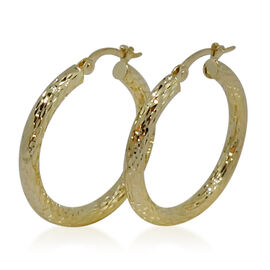 Royal Bali Collection 9K Y Gold Diamond Cut Hoop Earrings (with Clasp)
