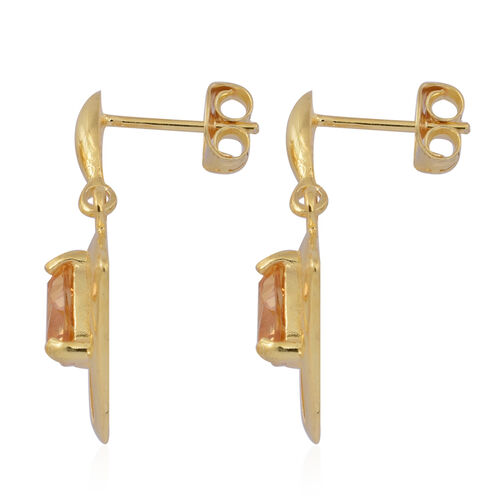 Citrine (Trl) Earrings (with Push Back) in 14K Gold Overlay Sterling Silver 2.000 Ct.