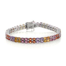 Yellow Sapphire (Ovl), Madagascar Purple Sapphire, Pink Sapphire, Orange Sapphire and Diamond Bracelet (Size 7.5) in Platinum Overlay Sterling Silver 22.000 Ct.