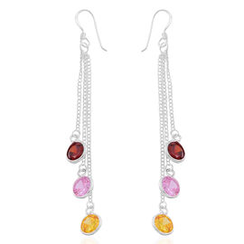 ELANZA AAA Simulated Pink Sapphire (Rnd), Simulated Ruby and Simulated Citrine Hook Earrings in Sterling Silver, Silver wt. 3.00 Gms.