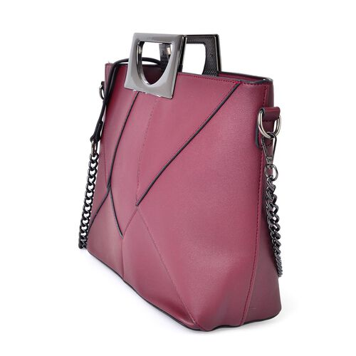 Classice Burgundy Colour Tote Bag with Metallic Handles and Removable Chain Strap (Size 37X30X23X13 Cm)