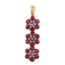 African Ruby and Tanzanite 2.59 Ct Silver Triple Floral Pendant in Gold Overlay