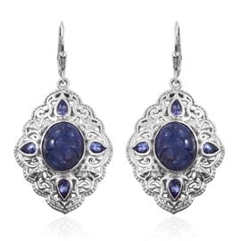 Royal Jaipur Tanzanite (Ovl), Burmese Ruby Lever Back Earrings in Platinum Overlay Sterling Silver 13.500 Ct.