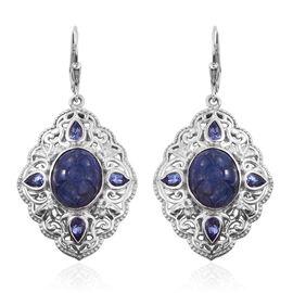 Royal Jaipur Tanzanite (Ovl), Burmese Ruby Lever Back Earrings in Platinum Overlay Sterling Silver 13.500 Ct.