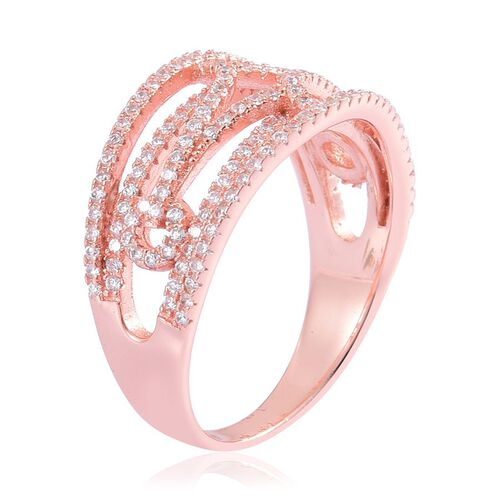 AAA Simulated White Diamond Criss Cross Ring in Rose Gold Overlay Sterling Silver