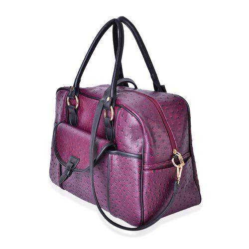 Burgundy Ostrich Pattern Weekend Bag with External Zipper Pocket and Removable Shoulder Strap (Size 42x26x17 Cm)