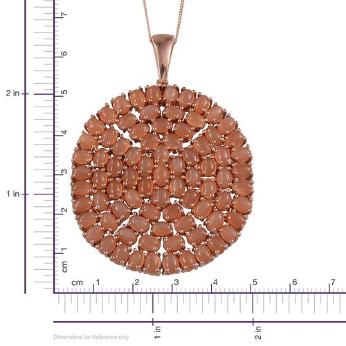 Mitiyagoda Peach Moonstone (Ovl) Cluster Pendant With Chain in Rose Gold Overlay Sterling Silver 27.250 Ct.
