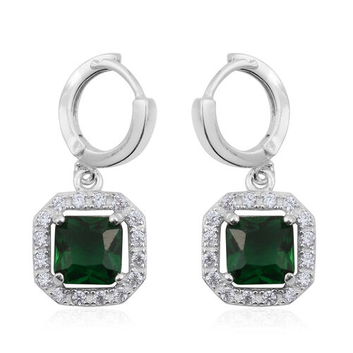 ELANZA AAA Simulated Emerald (Sqr), Simulated Diamond Earrings in Rhodium Plated Sterling Silver