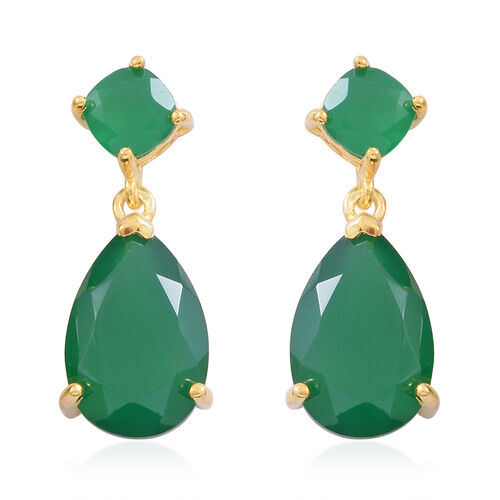 Verde Onyx (Pear) Drop Earrings (with Push Back) in 14K Gold Overlay Sterling Silver 10.000 Ct.