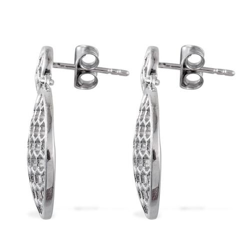 Platinum Overlay Sterling Silver Honey Comb Earrings (with Push Back), Silver wt 3.77 Gms.
