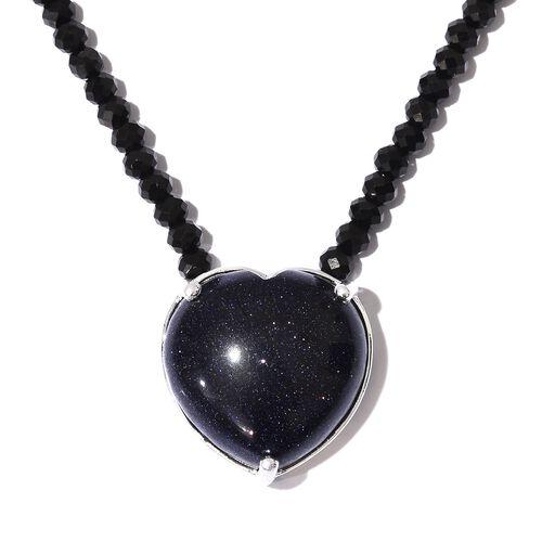 Designer Inspired-Blue Sandstone (Hrt 25.50 Ct), Boi Ploi Black Spinel Necklace (Size 18) in Sterling Silver 70.500 Ct.