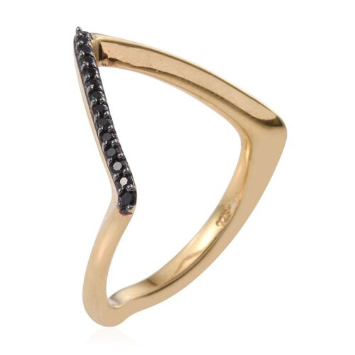 Boi Ploi Black Spinel (Rnd) Wishbone Ring in 14K Gold Overlay Sterling Silver 0.250 Ct.