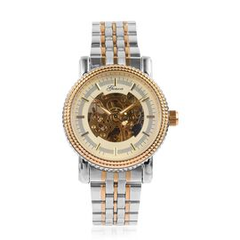 GENOA Automatic Skeleton White and Golden Dial Water Resistant Watch in Dual Tone with Chain Strap